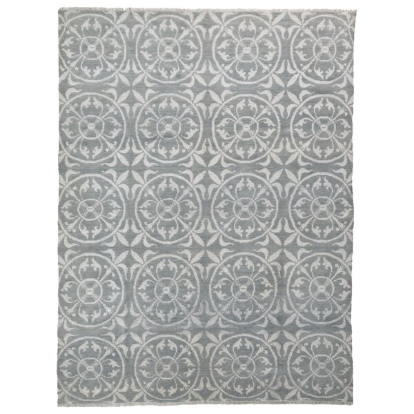One-of-a-Kind Hollhurst Knot Oushak Oriental Hand-Knotted Gray Area Rug by Bloomsbury Market
