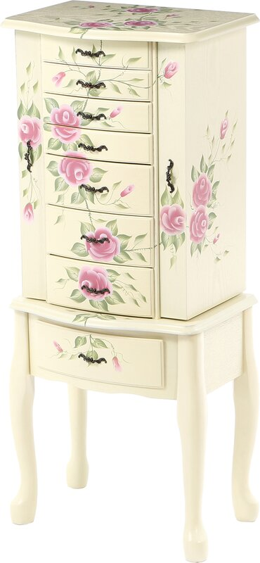 Antonette Floral Jewelry Armoire With Mirror