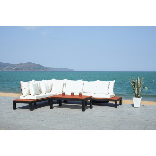 Thalia Living Patio Sectional with Cushions by Rosecliff Heights