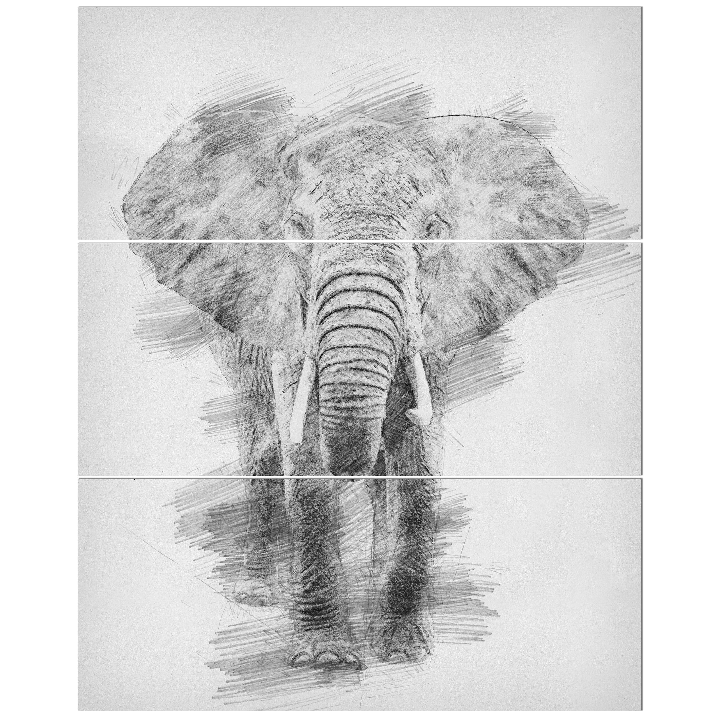 Black and white elephant pencil sketch drawing print multi piece image on wrapped canvas