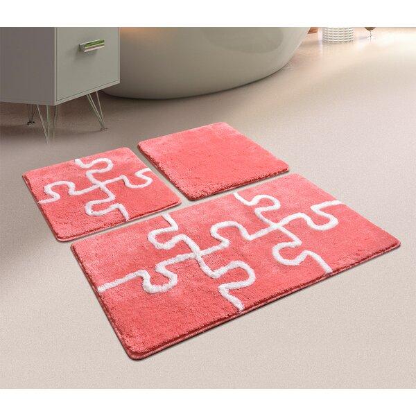 Armentrout Puzzle Rectangle Natural Non-Slip Geometric 3 piece Bath Rug Set