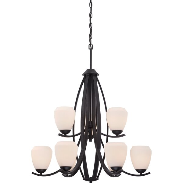 Plaistow 9-Light Shaded Tiered Chandelier By Winston Porter