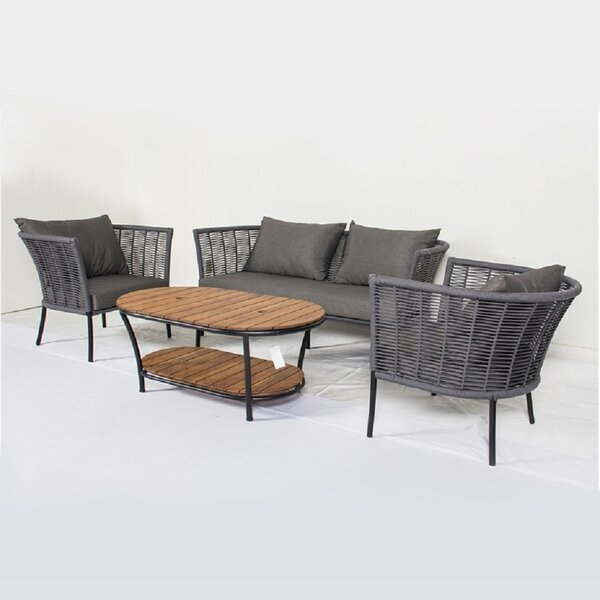 Maisha 4 Piece Sofa Seating Group with Cushions by Bungalow Rose