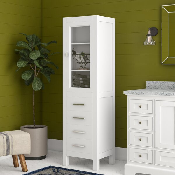 Kanode 18 W x 65 H x 17 D Solid Wood Linen Cabinet