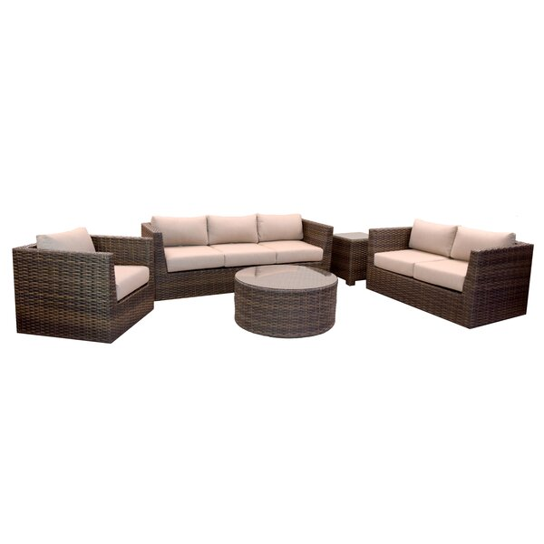 Cribbs 5 Piece Sectional Seating Group with Sunbrella Cushions by Highland Dunes