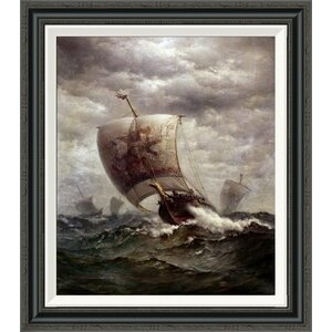 'Viking Ships at Sea' by James Gale Tyler Framed Painting Print by Global Gallery