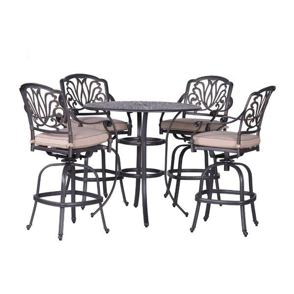Gunter 5 Piece Bar Height Dining Set with Sunbrella Cushions by Fleur De Lis Living