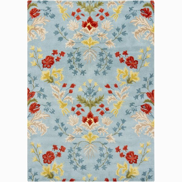Lillian Blue/Yellow Floral Area Rug by August Grove