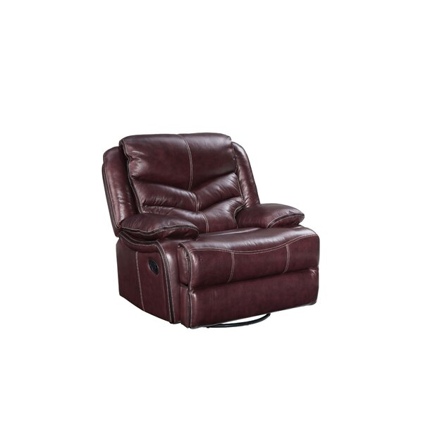 Washington Power Swivel Glider Leather Recliner by Three Posts