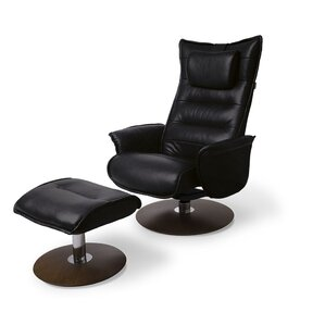 Trento Leather Manual Swivel Recliner with Ottoman by World Source Design