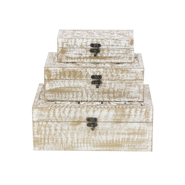 Wood Carved 3 Piece Decorative Box Set by Cole & Grey