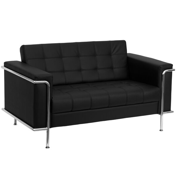 Best Myron Contemporary Leather Loveseat by Wade Logan