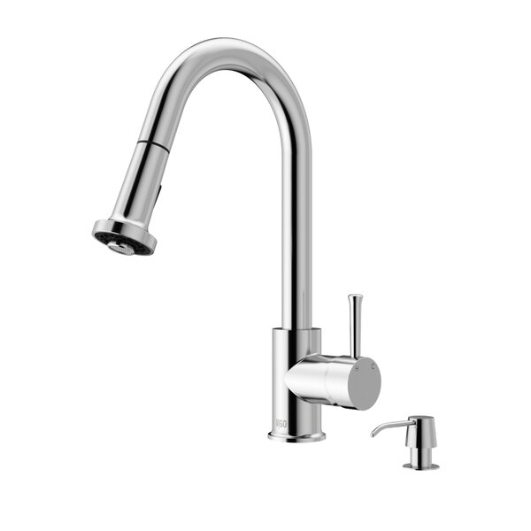 Harrison Pull Down Single Handle Kitchen Faucet with Optional Soap Dispenser by VIGO