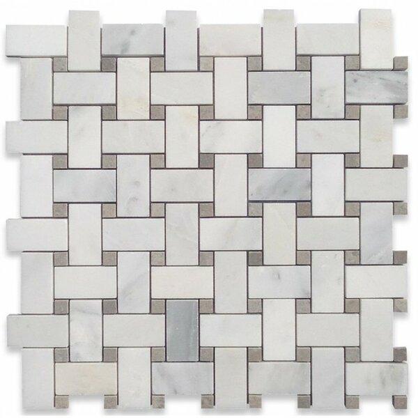 String Asian Statuary Basketweave Random Sized Marble Mosaic Tile in Gray by Splashback Tile