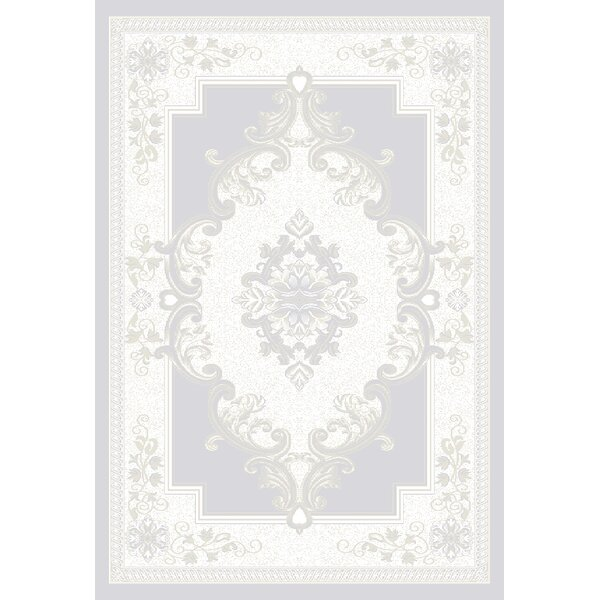 Ramsel 3D Traditional Oriental Floral Frost/Gray Area Rug by Astoria Grand