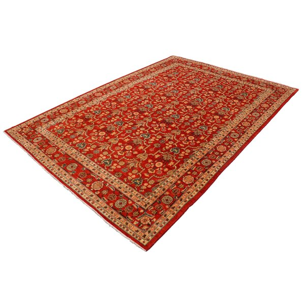 Annalee Hand-Knotted Wool Red Area Rug