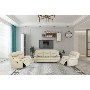 Devonee 3 Piece Faux Leather Reclining Living Room Set by Red Barrel Studio®