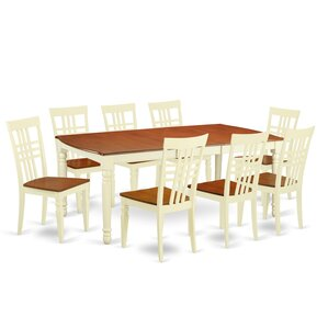9 Piece Dining Set in Buttermilk/Cherry by East West Furniture
