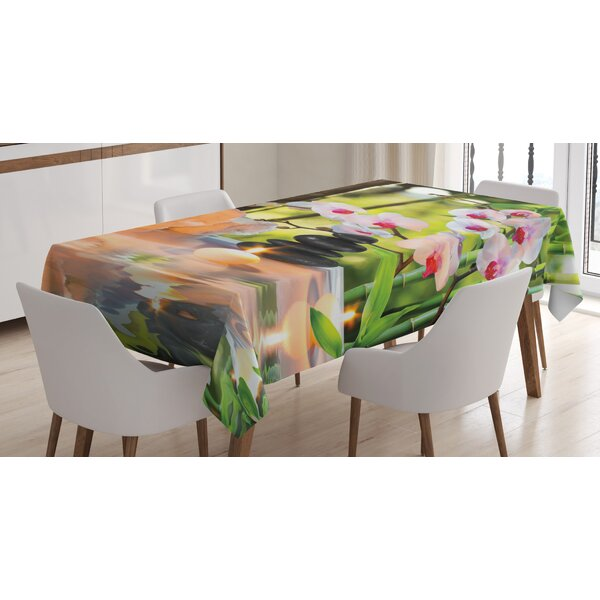 Ambesonne Spa Tablecloth Mage Theme With Candles Orchids And Stones In Garden Anese Oriental Rectangular Table Cover For Dining Room