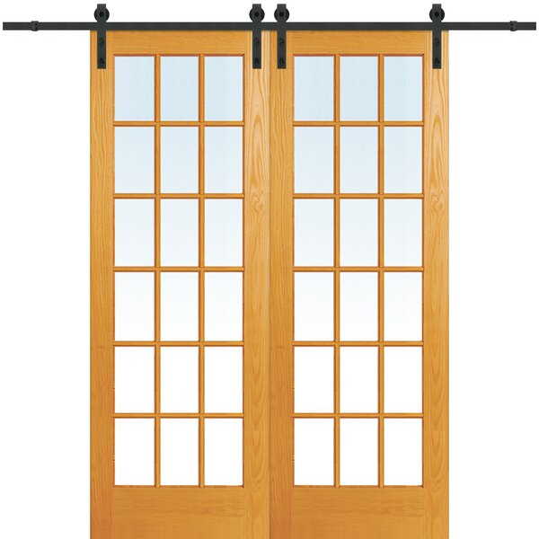 Wood 2-Panel Natural Interior Barn Door by Verona Home Design
