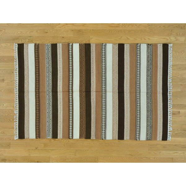 One-of-a-Kind Birmingham Striped Reversible Handmade Kilim Wool Area Rug by Isabelline