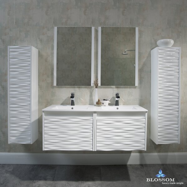 Artesian 48 Double Bathroom Vanity Set with Mirror by Ivy Bronx