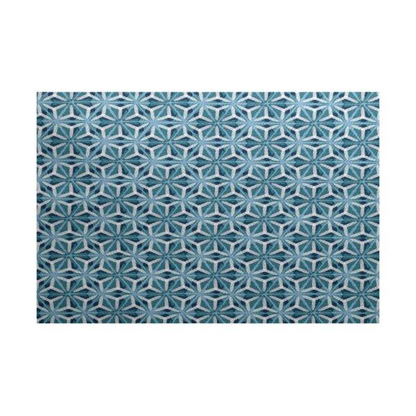 Viet Flat Woven Blue Geometric Indoor/Outdoor Area Rug by Bloomsbury Market