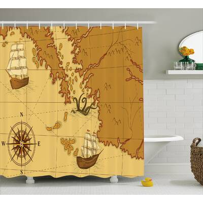 Zofia Old Map With Ship Compass Shower Curtain