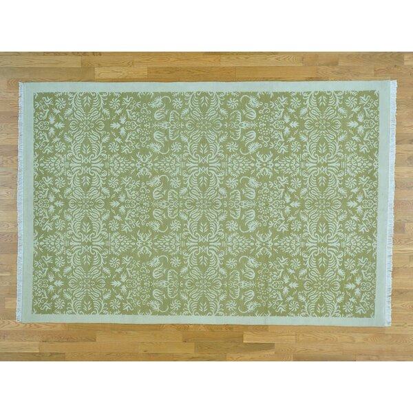 One-of-a-Kind Cearley Tibetan Hand-Knotted Green Wool Area Rug by Isabelline
