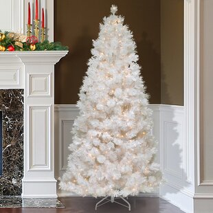 75 white grande slim artificial christmas tree with 500 pre lit clear lights with stand
