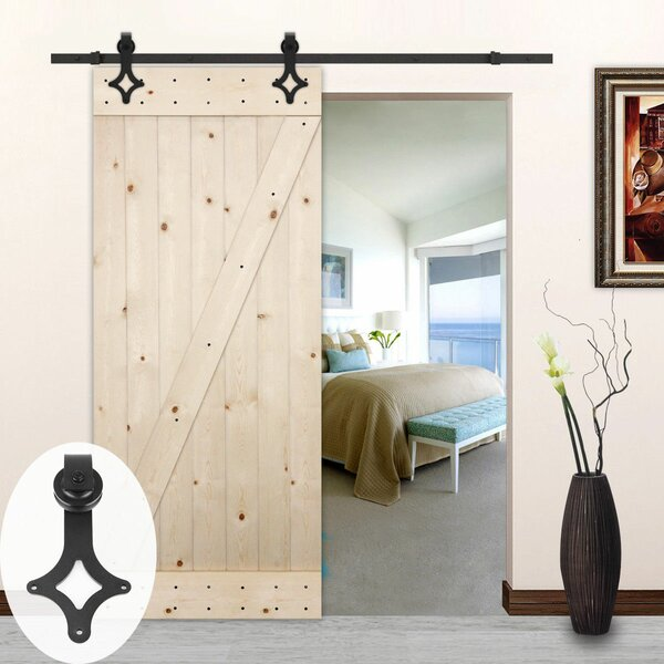 Rhombus Style Sliding Wood Track Kit Barn Door Hardware by Lubann
