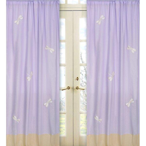 Dragonfly Dreams Wildlife Semi-Sheer Rod Pocket Single Curtain Panel (Set of 2) by Sweet Jojo Designs