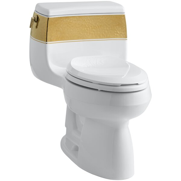 Laureate Design On Gabrielle Comfort Height One-Piece Elongated 1.28 GPF Toilet with Class Five Flush Technology and Left-Hand Trip Lever by Kohler