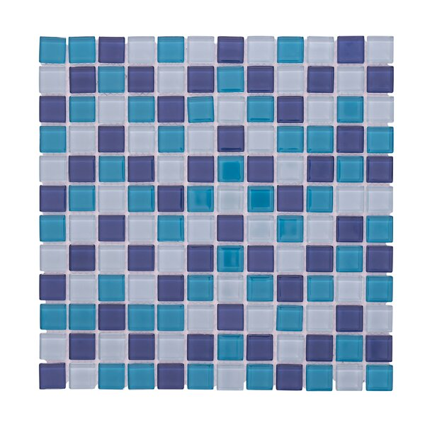 Crystal Pool 12 x 12 Glass Mosaic Backsplash Tile in Blue/White by Vetromani