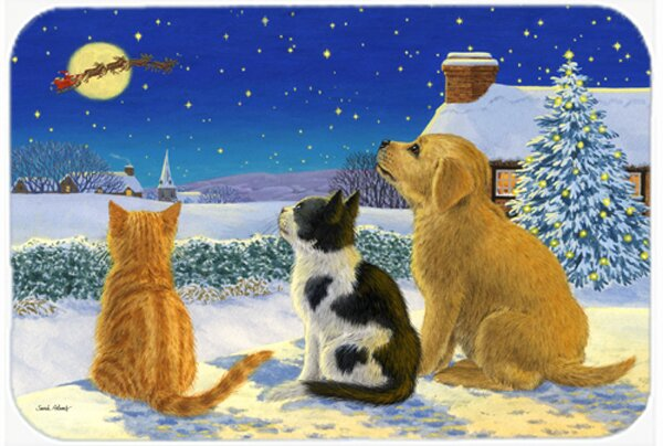 Retriever and Kittens Watching Santa Kitchen/Bath Mat by East Urban Home