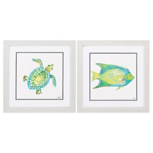 Creatures 2 Piece Framed Graphic Art Set by Beachcrest Home