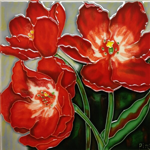 3 Red Poppies Tile Wall Decor by Continental Art Center