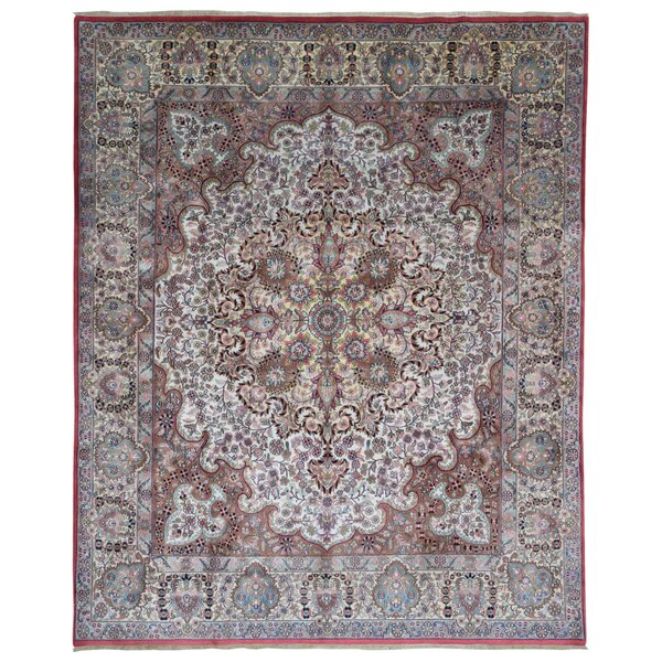 One-of-a-Kind Lovato Tabriz Oriental Hand-Woven Wool Pink/Light Blue Area Rug by Astoria Grand