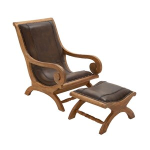Wood Lounge Chair and Ottoman by Cole & Grey