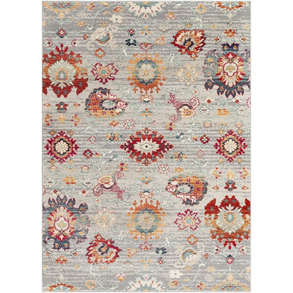 Raminez Distressed Floral Gray/Teal Rug by Bungalow Rose