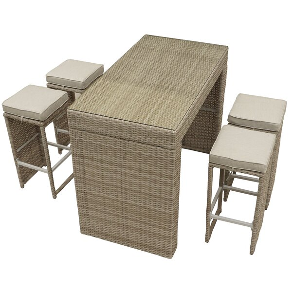 Nowak 5 Piece Bar Height Dining Set with Cushions by Willa Arlo Interiors