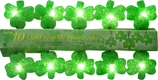 10 Light Sparkle Shamrock String Light by Penn Distributing