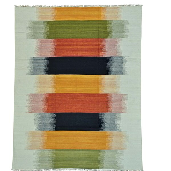 Flat Weave Reversible Durie Kilim Hand-Knotted Black/Orange/Green Area Rug by Bloomsbury Market