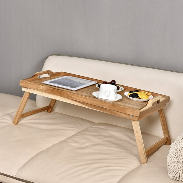 Acacia Breakfast Bed Serving Tray with Handle Foldable Leg by Welland LLC