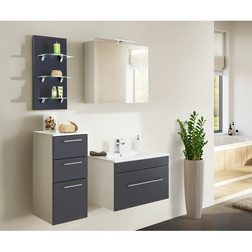 Viva 4-Piece Bathroom Furniture Set Belfry Bathroom Furniture Finish: Anthracite/White