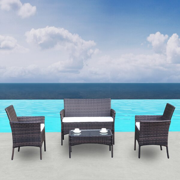 Patio Outdoor Rattan Furniture 4 Pieces by Highland Dunes