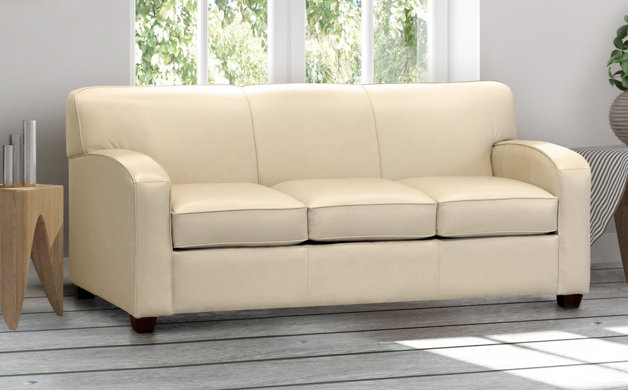 Cream Top Grain Leather Sofa Bed