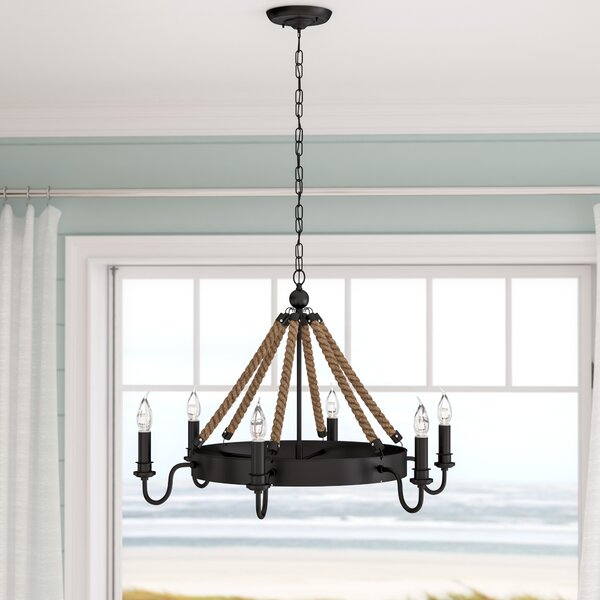 Vanesa 6 - Light Candle Style Wagon Wheel Chandelier with Rope Accents by Longshore Tides Longshore Tides