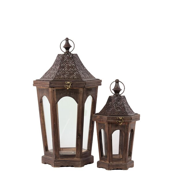2 Piece Classic Lamp Post Design Wooden Lantern Set by Woodland Imports