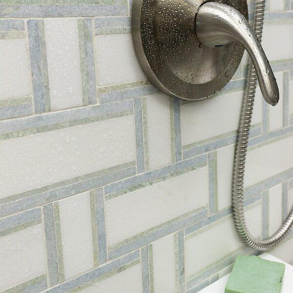 Mingle Ming Interlocking Random Sized Marble Mosaic Tile in Green by Splashback Tile
